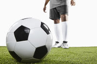 A soccer player ready for freekick