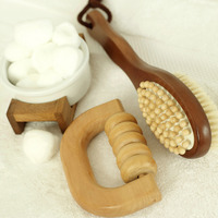 Body brush, wooden massager and cotton balls