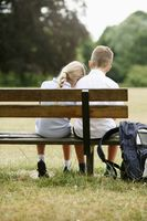 Boy and girl on a bench