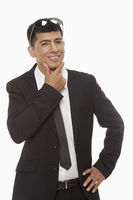 Businessman smiling and showing hand gesture