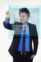 Businessman using digital screen