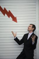 Businessman with arrow pointing down on him