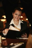 Businesswoman reading menu
