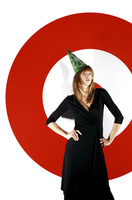 Businesswoman wearing party hat