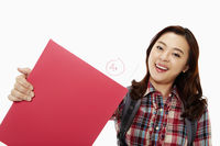 Cheerful woman showing her good grades