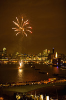 Fireworks over river thames