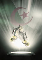 Football cleats with algeria flag backdrop