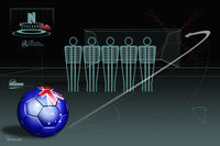 Free kick infographic with australia soccer ball