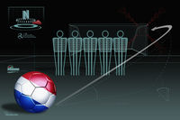 Free kick infographic with netherlands soccer ball