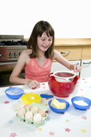 Girl learning baking