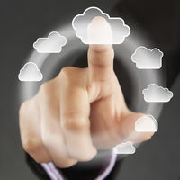 Index finger pointing at cloud symbols on a touch screen menu