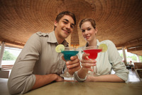 Man and woman with their drinks