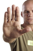 Man showing a stop gesture