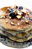 Pancake with almonds and blueberries