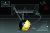 Penalty kick infographic with belgium soccer ball