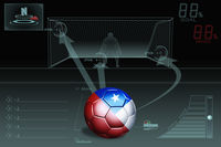 Penalty kick infographic with chile soccer ball