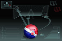Penalty kick infographic with croatia soccer ball