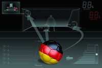 Penalty kick infographic with germany soccer ball