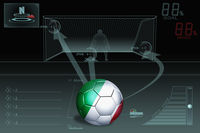 Penalty kick infographic with italy soccer ball