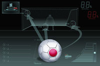 Penalty kick infographic with japan soccer ball