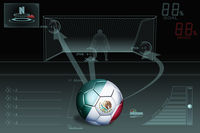 Penalty kick infographic with mexico soccer ball