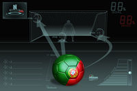 Penalty kick infographic with portugal soccer ball