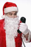Santa claus talking on the phone