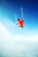 Skier flying in the air