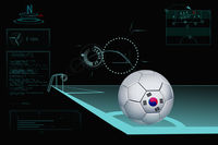Taking a corner infographic with south korea soccer ball