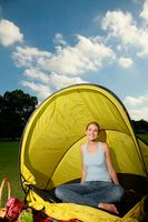 Woman camping in the park