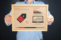 Popular : Woman holding board with membership concept and infographics