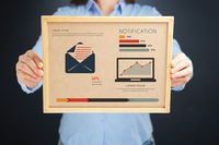 Popular : Woman holding board with notification concept and infographics