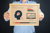 Popular : Woman holding board with planning concept and infographics
