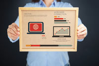 Popular : Woman holding board with worldwide connection concept and infographics