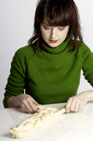 Woman making dough