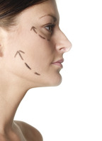 Woman's face with arrows showing up