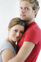Young couple in romantic embrace