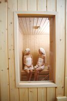 Young women in sauna