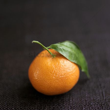 Leaf : Close up of clementine