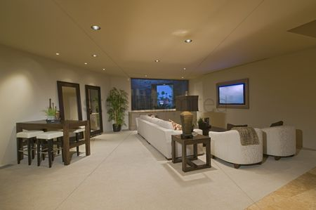 Interior : White entertainment suite in palm springs home