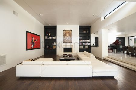 Interior : White seating in spacious luxury apartment