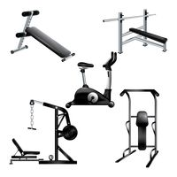 A collection of gym equipments