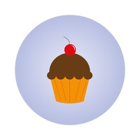 A cupcake with cherry