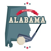 Alabama map with golf club