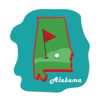 Alabama state map with golfing