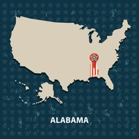 Alabama state on the map of usa
