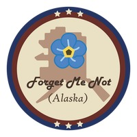 Alaska state with forget me not flower