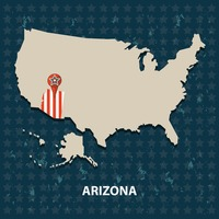 Arizona state on the map of usa