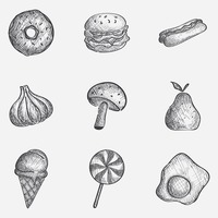 Assorted food icon set
