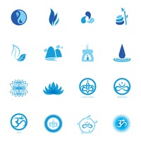 Assorted zen and yoga icon set